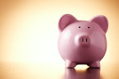 Pink porcelain piggy bank, concept of savings Royalty Free Stock Image