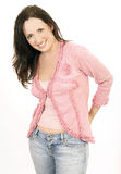 Pink Portrait 6. Portrait of lady in pink 6 wearing jeans stock photo