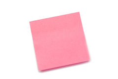 Pink post-it. On a white background Stock Image
