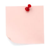 Pink post-it note. Pinned on a pure white background. Waiting for your message Stock Image