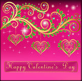 Pink postcard on Valentines day with pendants hear Royalty Free Stock Photo