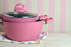 Pink Pots on Kitchen Table Royalty Free Stock Photos
