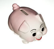 Pink pottery piggy bank isolated Stock Photo