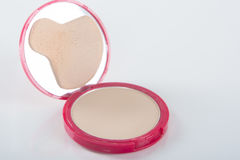 Pink Powder Case On White Background Stock Images
