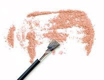 Pink powder cosmetic and blush on white. Royalty Free Stock Photography
