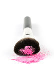 Pink Powder Eyeshadow on a Brush, fashion beauty Royalty Free Stock Image