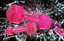 Pink Power Weights. Royalty Free Stock Photos