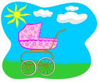 Pink pram Royalty Free Stock Images