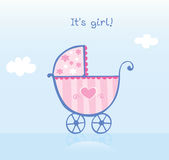 Pink pram for girl Royalty Free Stock Image
