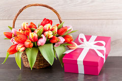Pink present and colorful tulips festive easter decoration Royalty Free Stock Photos