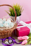 Pink present and colorful tulips festive easter decoration Royalty Free Stock Images