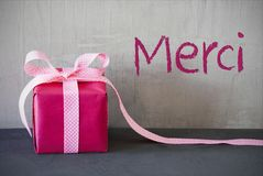 Pink Present, Merci Means Thank You Stock Photos
