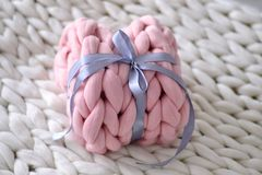Pink present of merino wool Royalty Free Stock Photo