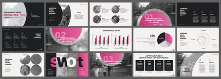 Free Pink Presentation Templates Elements On A White Background. Royalty Free Stock Photos - 110877618