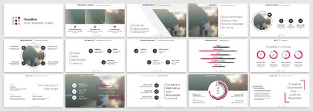 Pink presentation templates elements on a white background. Vector infographics.