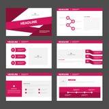 Pink presentation templates Infographic elements flat design set for brochure flyer leaflet marketing Stock Images