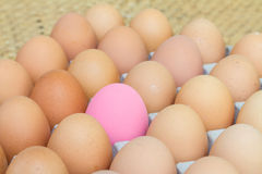 Pink preserved egg and fresh eggs Royalty Free Stock Photo