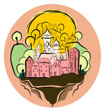 Pink pricess castle stock illustration