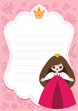Pink princess card. Little princess card template with blank space for text Royalty Free Stock Images