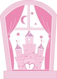 Pink princess castle. Castle through a window royalty free illustration
