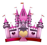 Pink Princess Castle. Princess Pink Castle as an elegant  magical fairy tale kingdom as a fantasy toy for little girls and females in celebration of imagination Stock Photo