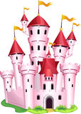 Pink princess castle. Magic pink princess castle on a white background Stock Photos