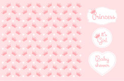 Pink princess Crown Background Vector Illustration. Stock Images