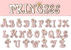 Pink princess cute font. Letters for decoration in girlish style. Doodle vector elements of royal design. Typo birthday invite template with crown. Fun text for royalty free illustration