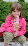 Pink princess with pink ice-cream Stock Images
