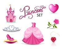 Pink priness set. Stock Photos