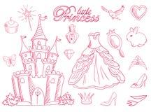 Pink priness sketch set. stock illustration