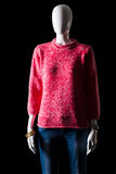Pink pullover with blue jeans. Jeans and pullover on mannequin. Woman's bright outfit for spring. Warm colors and simple pattern Stock Photos