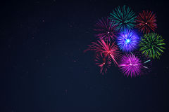 Pink purpe blue green fireworks copy space. Royalty Free Stock Photography
