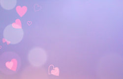 Pink and Purple Abstract Blur Background with Red Hearts, Free Space for Text Stock Images