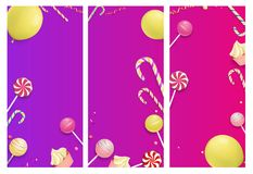 Pink and purple backgrounds with color festive pattern. stock illustration