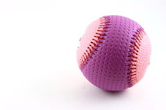 Pink and purple baseball. Closeup of pink and purple baseball isolated on white background with copy space royalty free stock photography