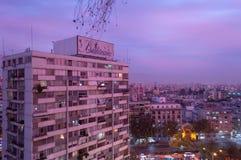 A pink sunset sets over Santiago Stock Photos