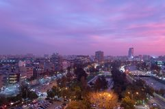 A pink sunset sets over Santiago stock photo