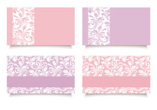 Pink and purple business cards with floral patterns. Vector EPS-10. Royalty Free Stock Photo