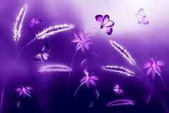 Pink and purple butterflies against a background of wild flowers in purple and violet tones. Artistic ultraviolet natural image. Soft focus stock photography