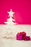Pink and purple Christmas decorations Stock Photo