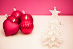 Pink and purple Christmas decorations Royalty Free Stock Images