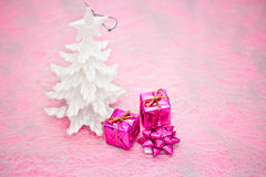 Pink and purple Christmas decorations Stock Images