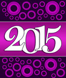 2015 Pink Purple Circles. 2015 text on a dark purple background with pink circles Royalty Free Stock Photos