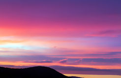 Pink and Purple Clouds. In Hungary Royalty Free Stock Photos