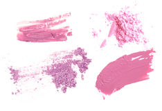 Pink and purple color tone make up cosmetic product. Powder lip-gloss and eye-shadow. Royalty Free Stock Images