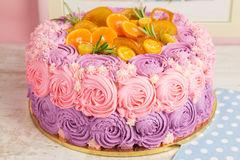 Pink and purple cream cake Stock Images