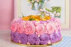 Pink and purple cream cake Royalty Free Stock Photos