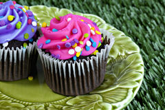 Pink and Purple cupcakes on plate Stock Photos