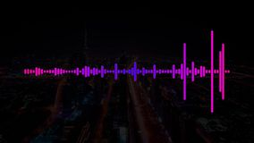 Pink and Purple Electro House Music Sound with Equalizer waves on a dark city